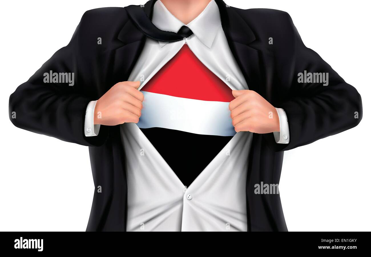 businessman showing Yemen flag underneath his shirt over white background - Stock Vector