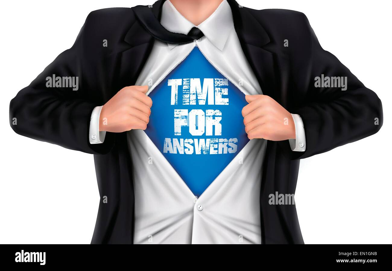 businessman showing Time for answers words underneath his shirt over white background - Stock Vector