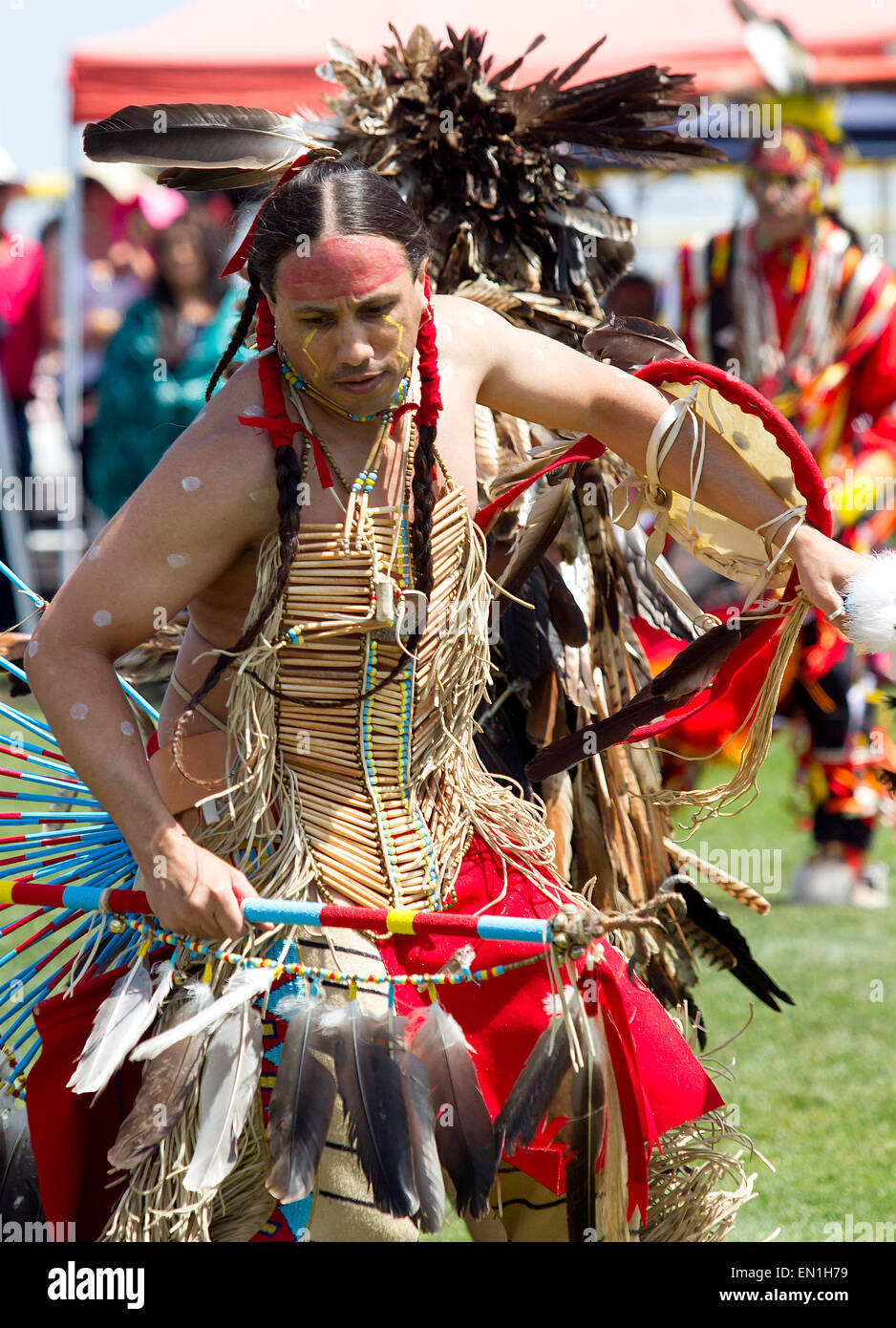 Native American Pow-Wow dancer - Stock Image