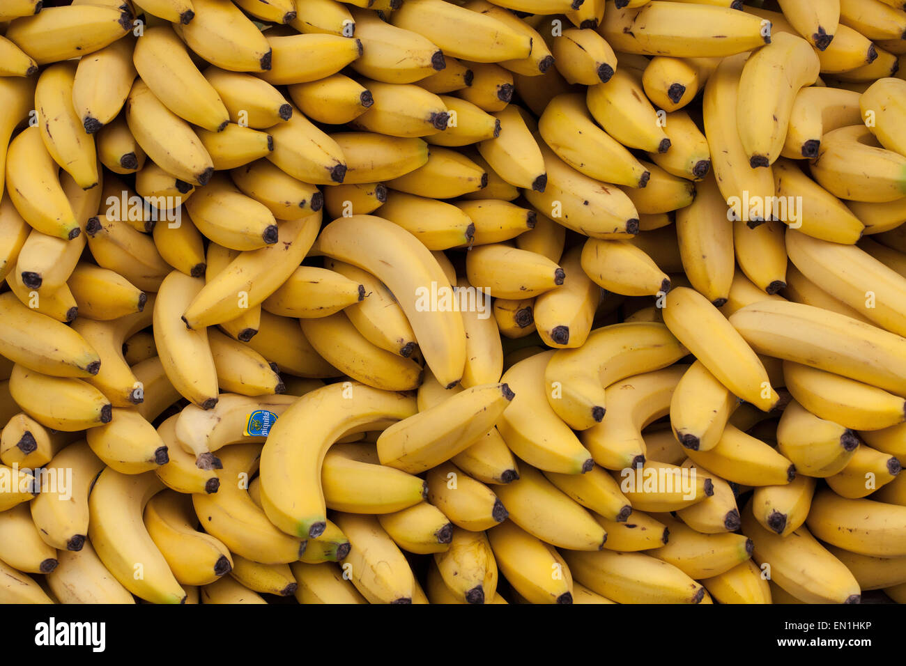 Nashville, Tennessee, USA. 25th Apr, 2015. Stacks of bananas await runners at the finish line as they complete the - Stock Image