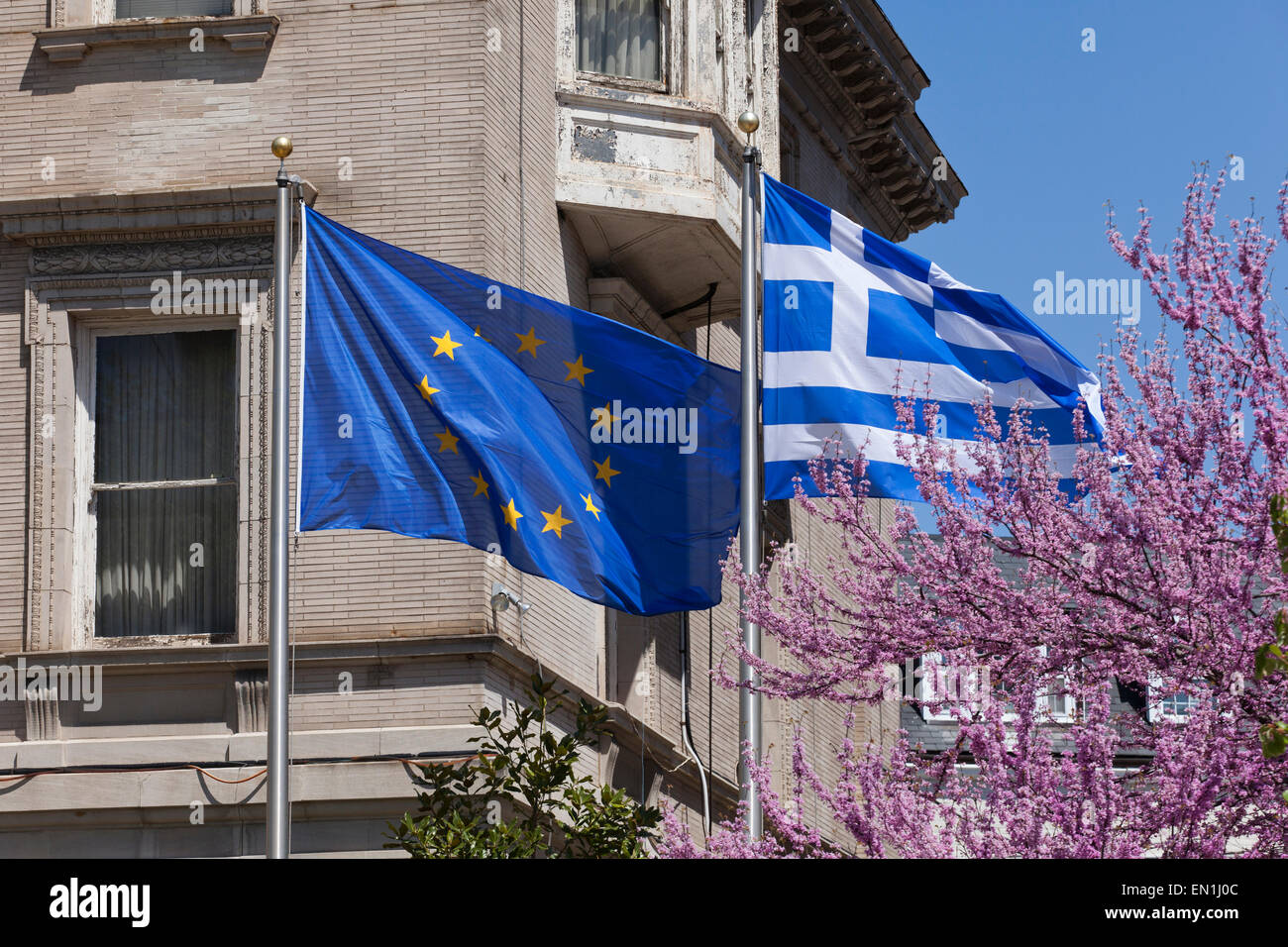 Europa and Greece flags - Stock Image