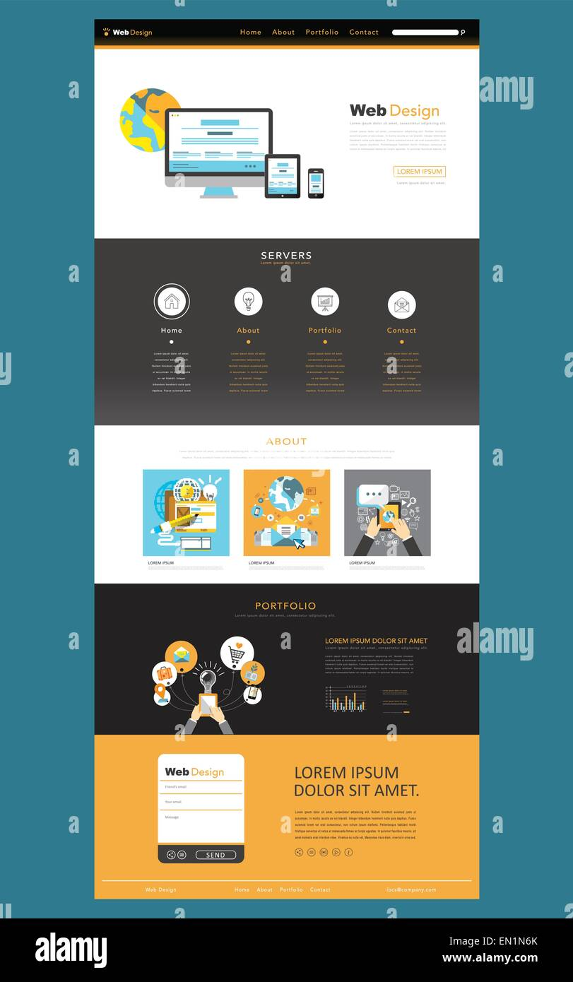 business style flat design one page website template Stock Vector ...