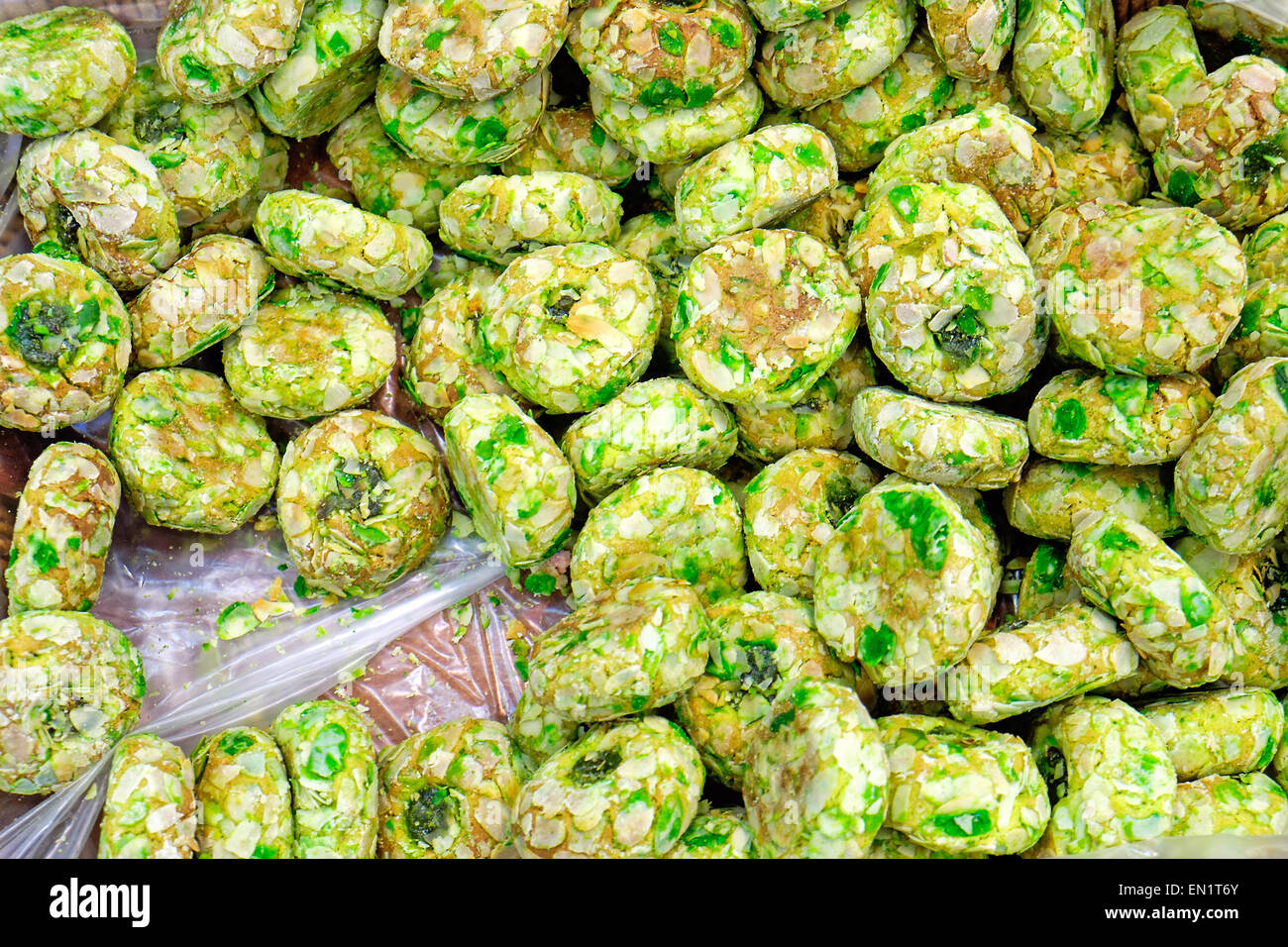 Some green italian pastry for sale at a bakery - Stock Image