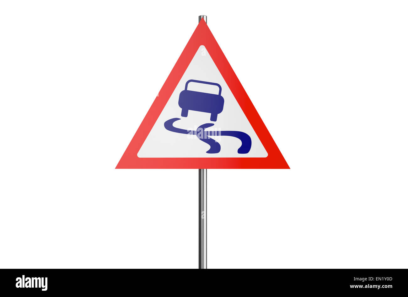 slippery road sign isolated on white background - Stock Image