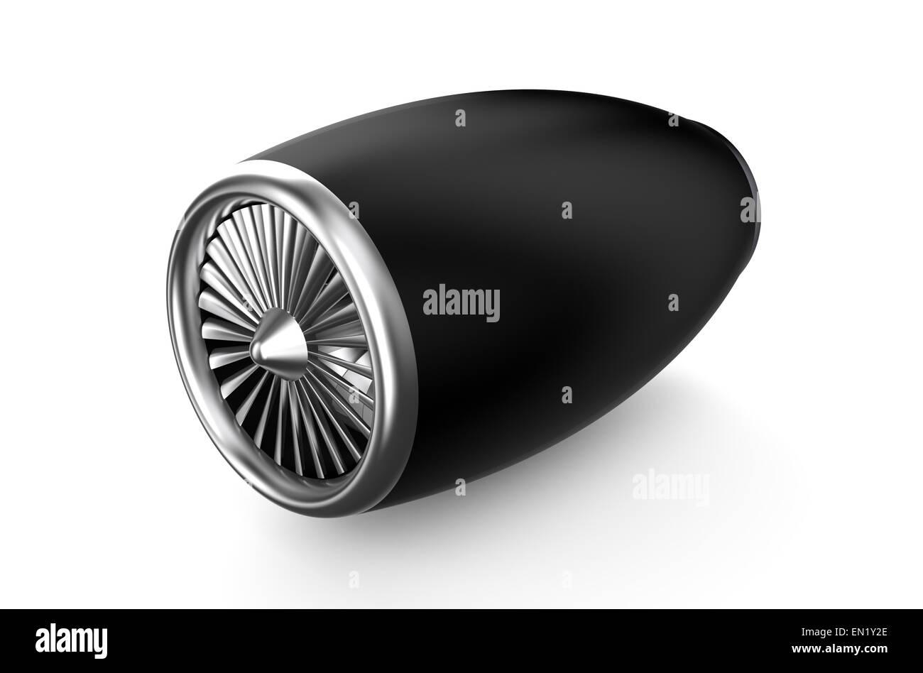 black jet engine isolated on white background - Stock Image