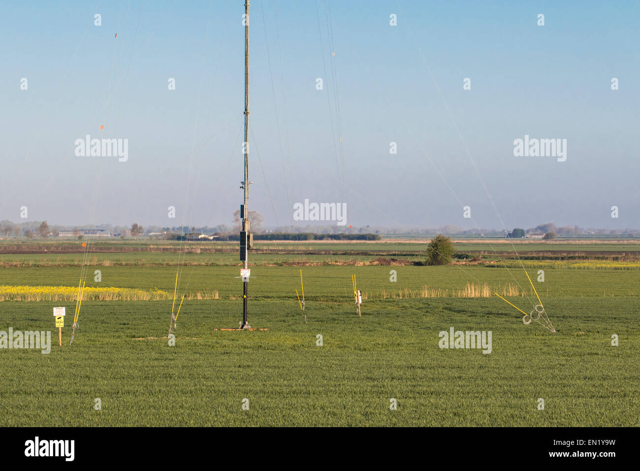 View of the base of an anemometer mast, with deflectors, Cambridgeshire.  Erected in advance of the construction - Stock Image