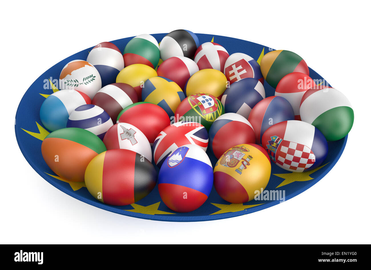 Easter eggs with the flags of the countries of the European Union isolated on white background Stock Photo