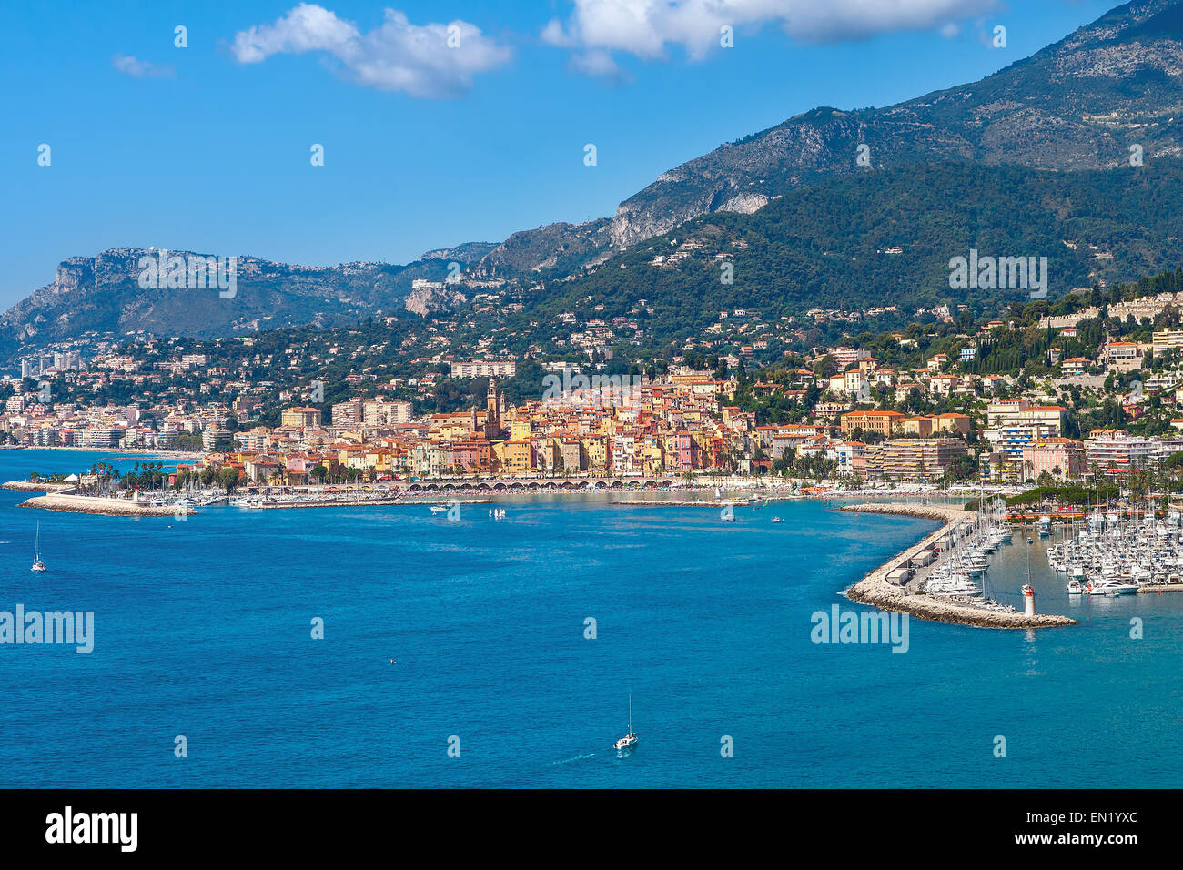 View on Mediterranean sea and small town of Menton on French Riviera. - Stock Image