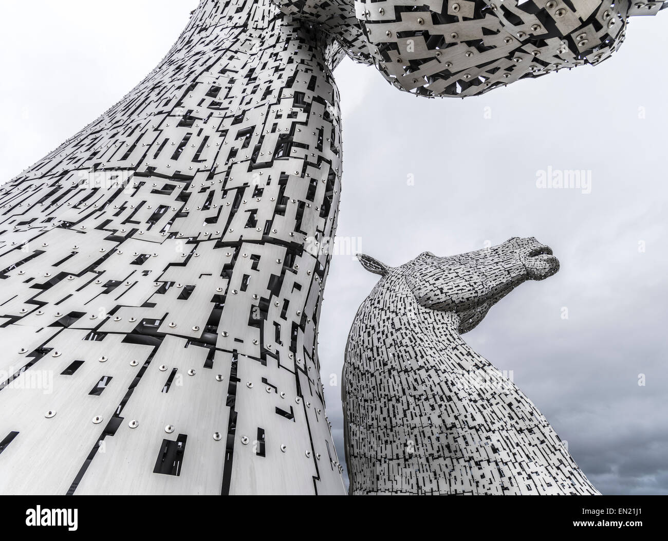 The Kelpies, 30-meter high horse sculptures by Andy Scott. Falkirk, Scotland - Stock Image