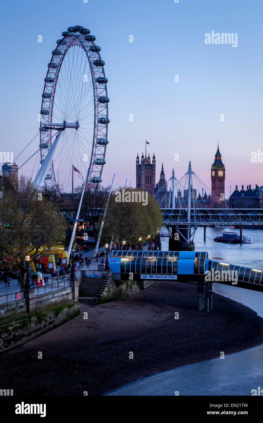Big Ben, The Houses of Parliament and The London Eye, London, England - Stock Image