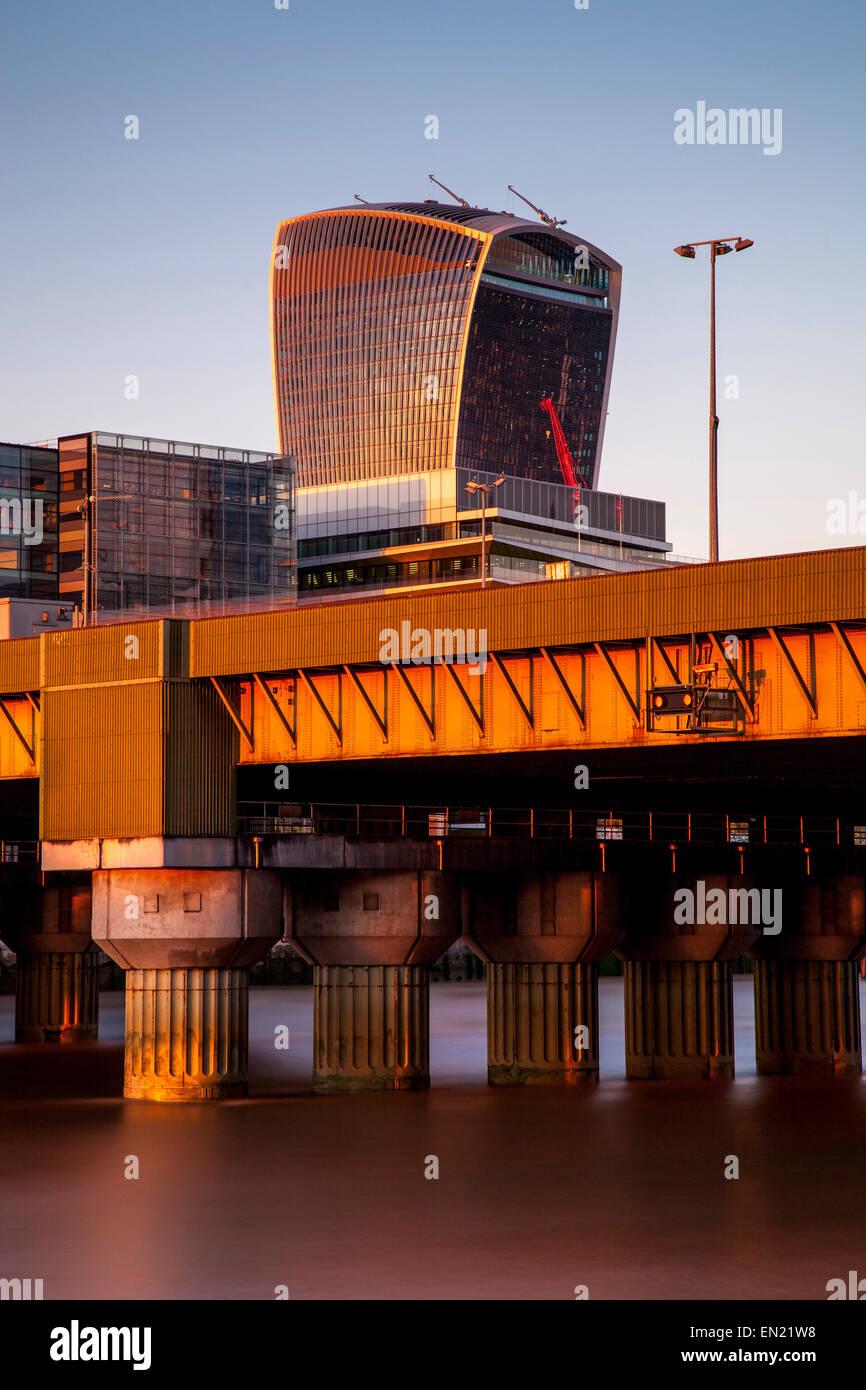 Cannon Street Railway Bridge and The City of London Skyline, London, England - Stock Image