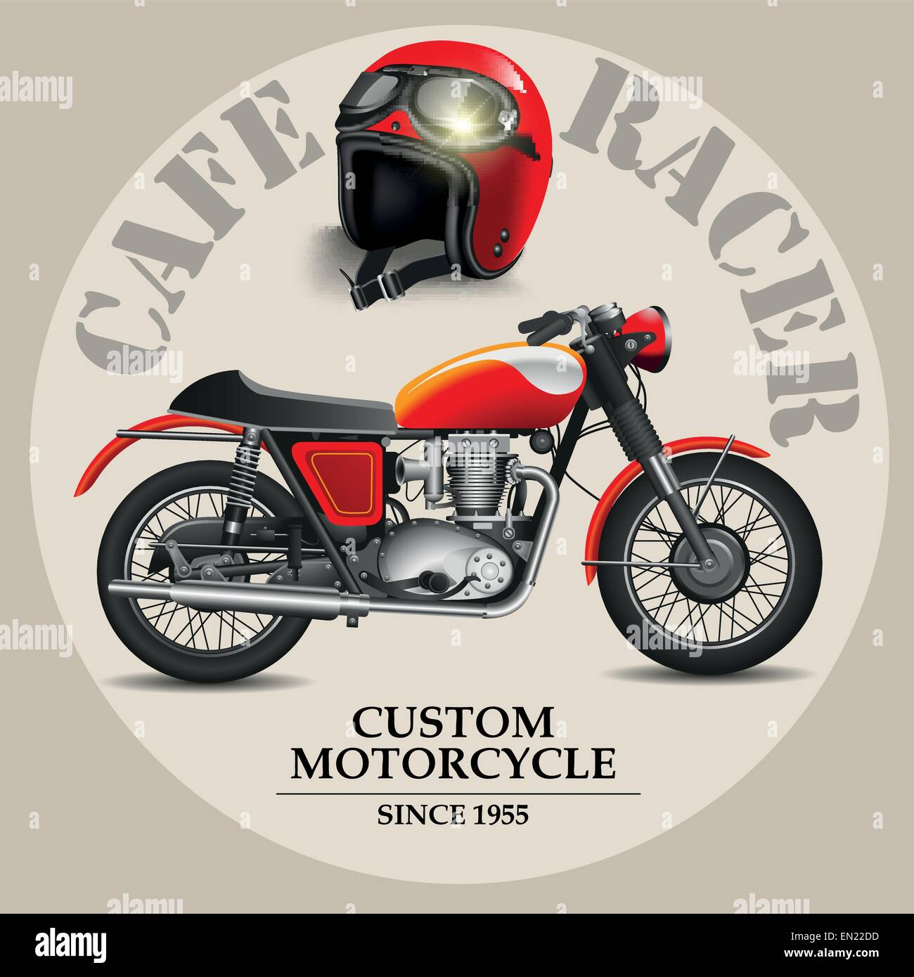Cafe Racer Style Motorbike With Helmet On A White Background Vector Illustration