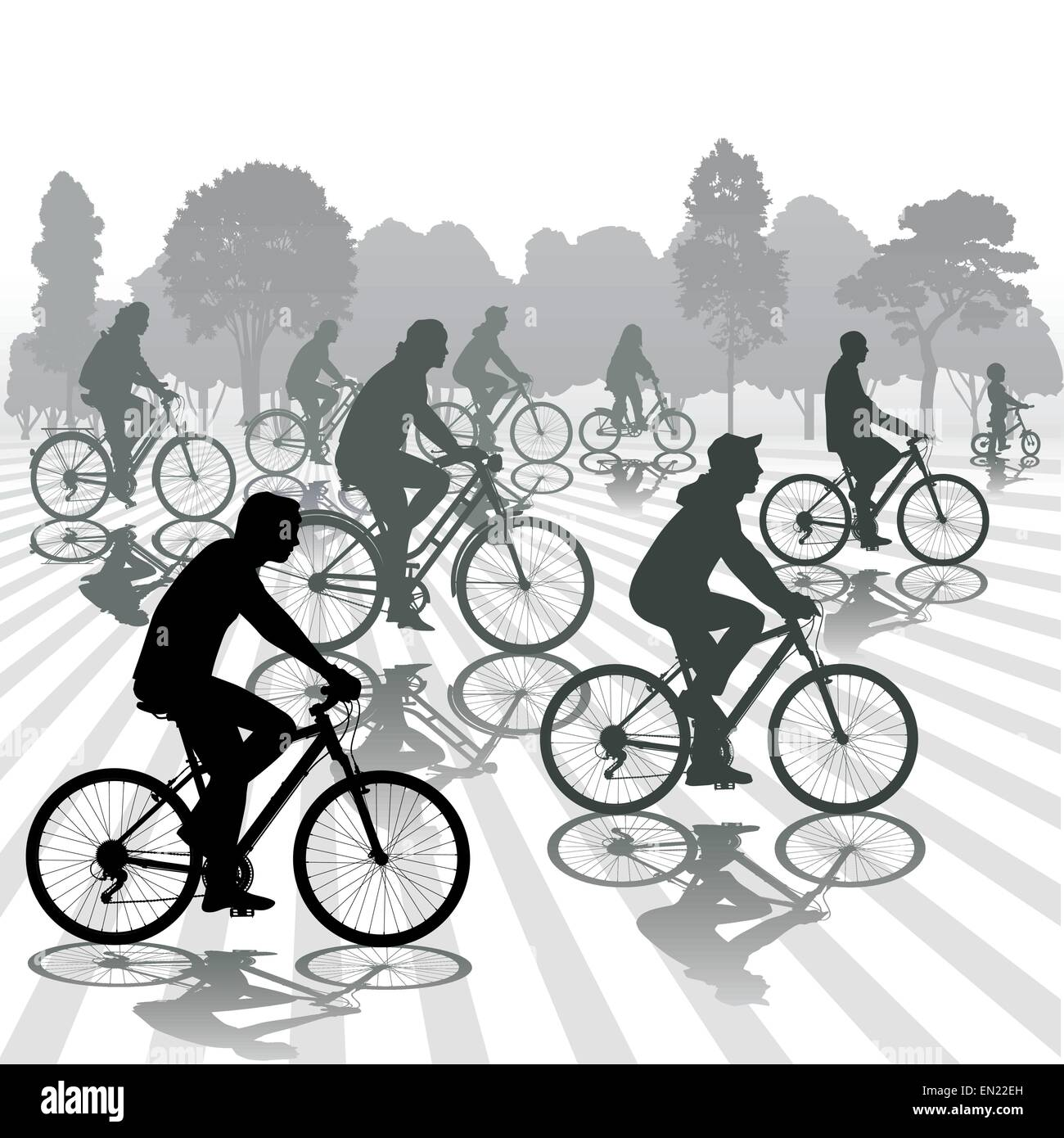 Cyclists silhouettes. Active people biking in the park. Vector illustration - Stock Vector