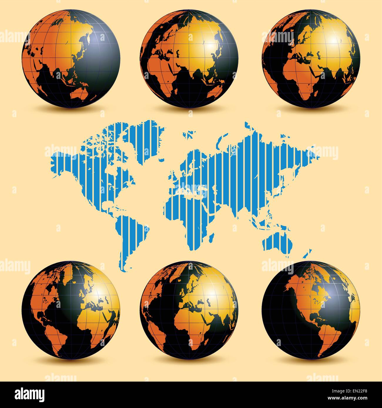 Earth rotation and map with time zones. Vector illustration - Stock Image