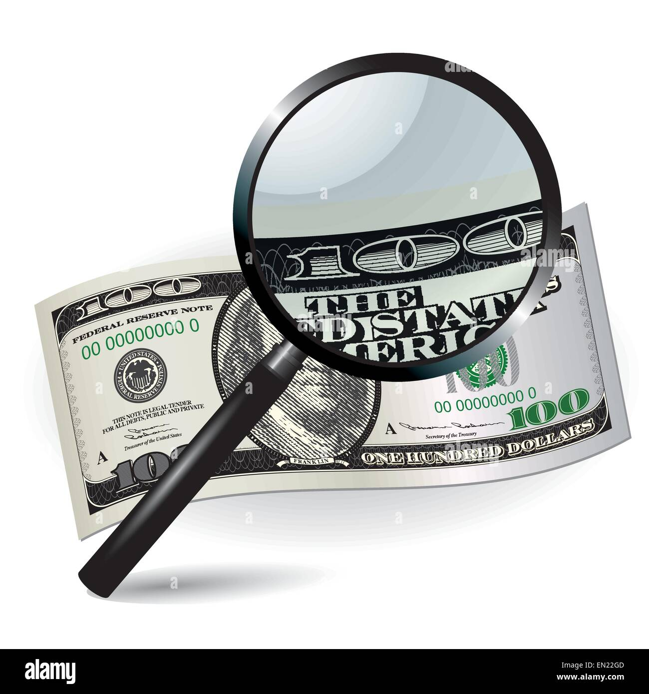 One hundred dollars with magnifier. Top view. Vector illustration - Stock Vector