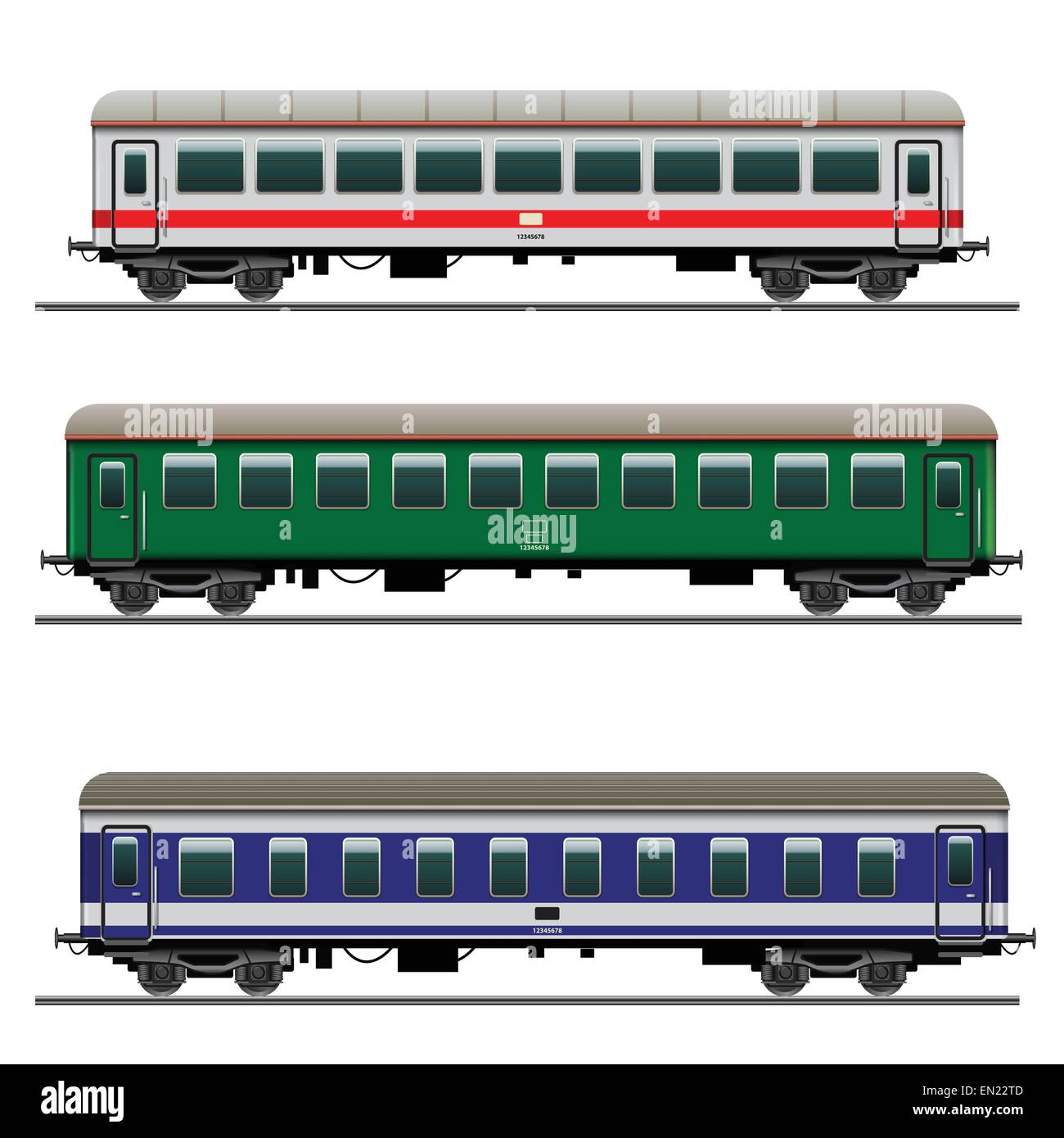 Passenger train cars. Detailed vector Illustration - Stock Image