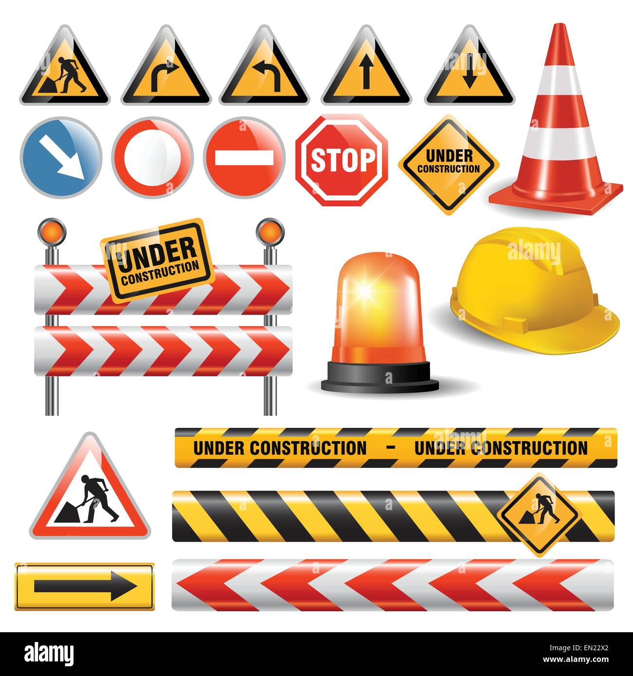 Set Of Signs And Symbols Under Construction Vector Illustration