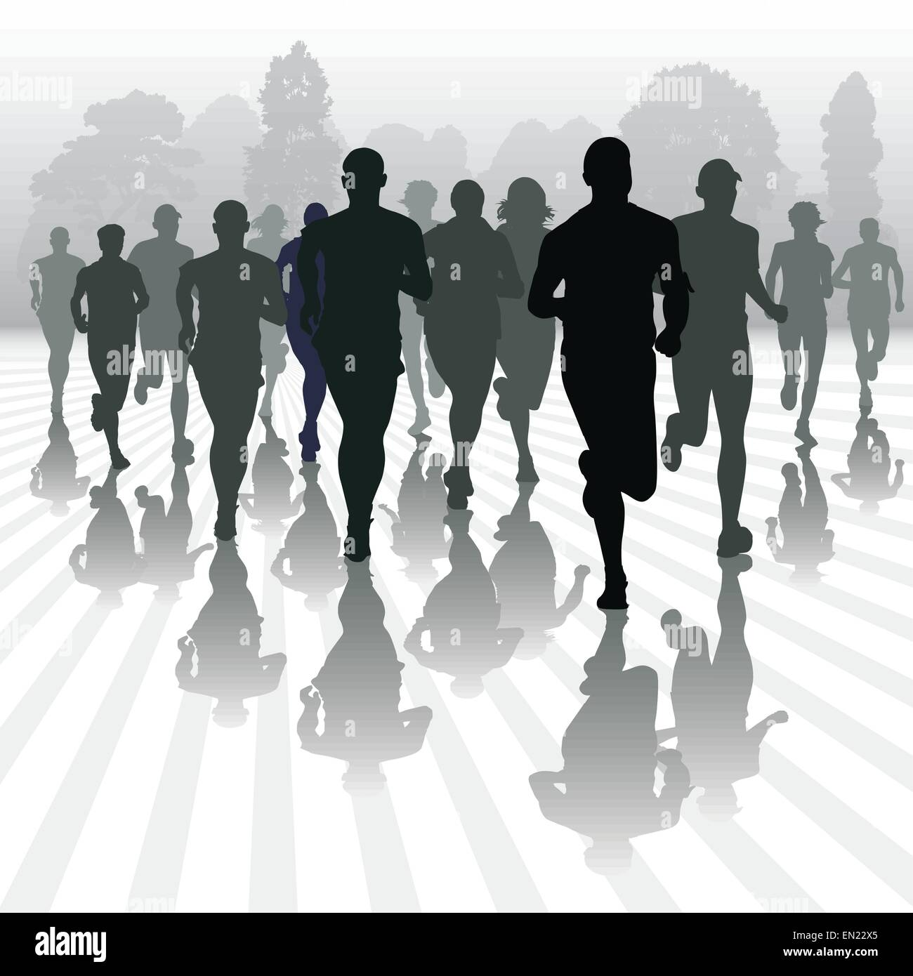 Running people in the park. Vector illustration - Stock Vector
