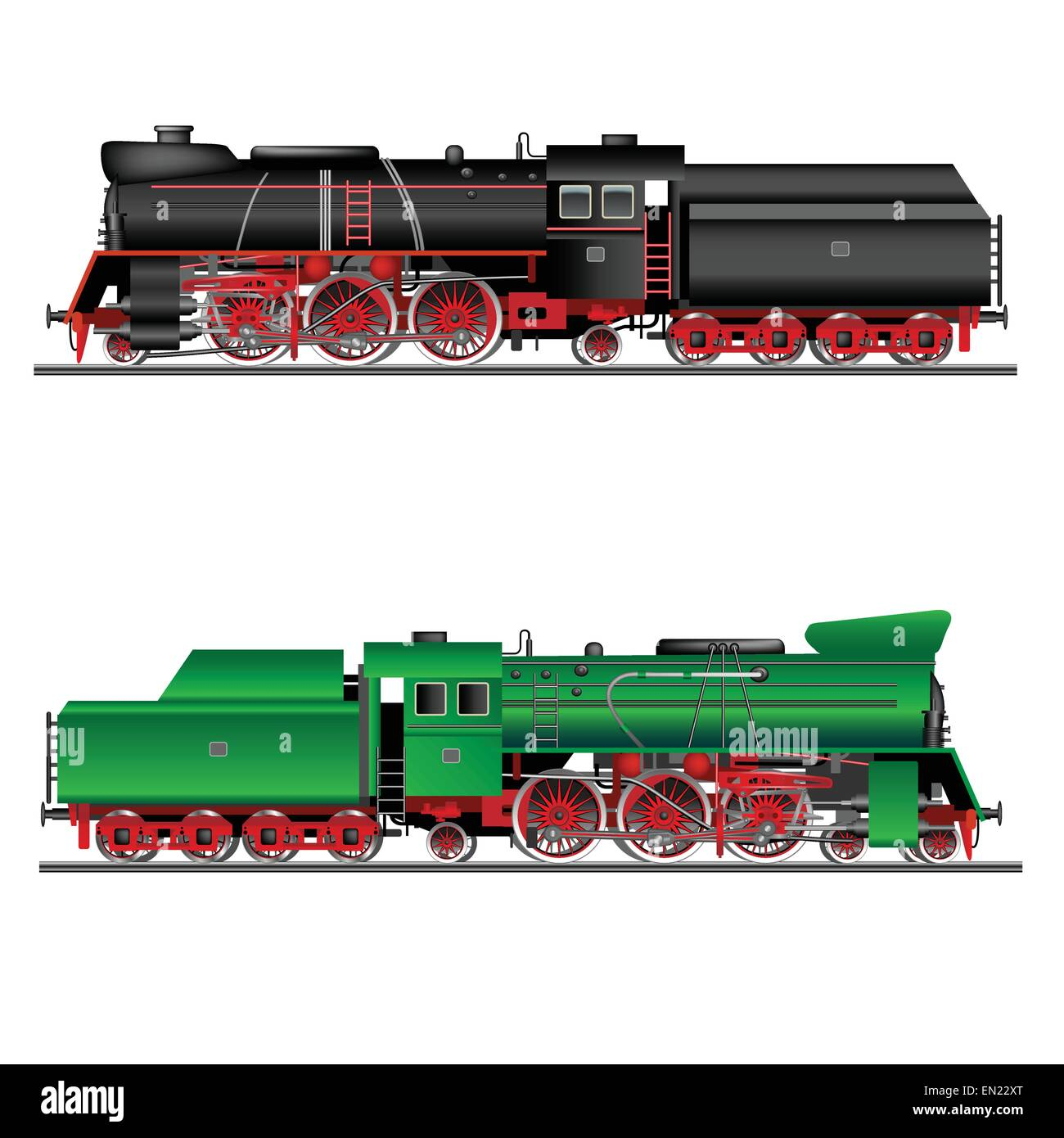 Train, old locomotive isolated on white. Detailed vector Illustration - Stock Image