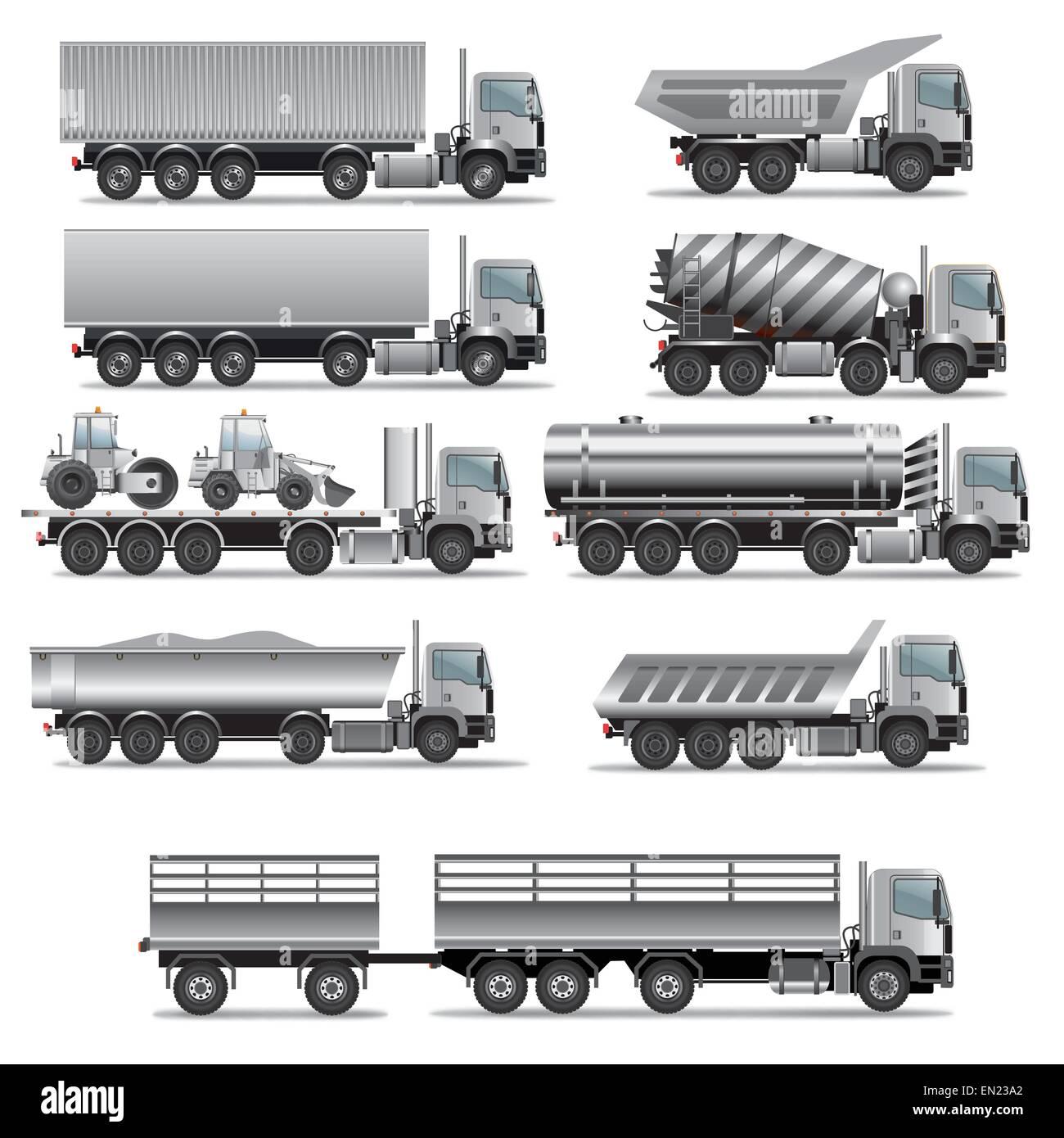 Set of truck for cargo transportation. Vector illustration - Stock Image