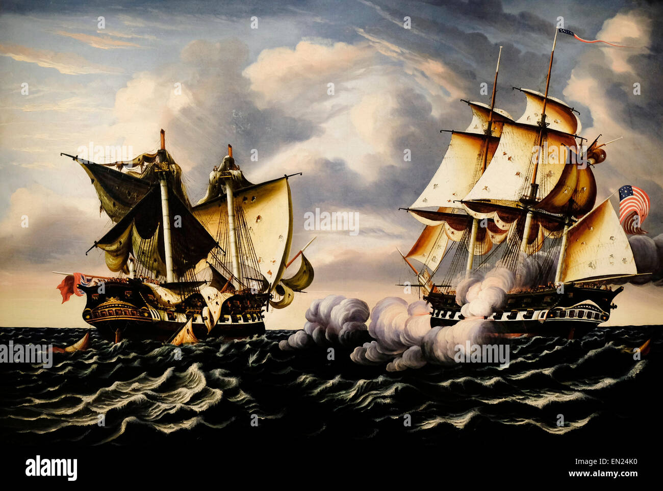 Capture of HBM Frigate Macedonia by US Frigate United States, October 25, 1812  painted 1852 Thomas Chambers - Stock Image
