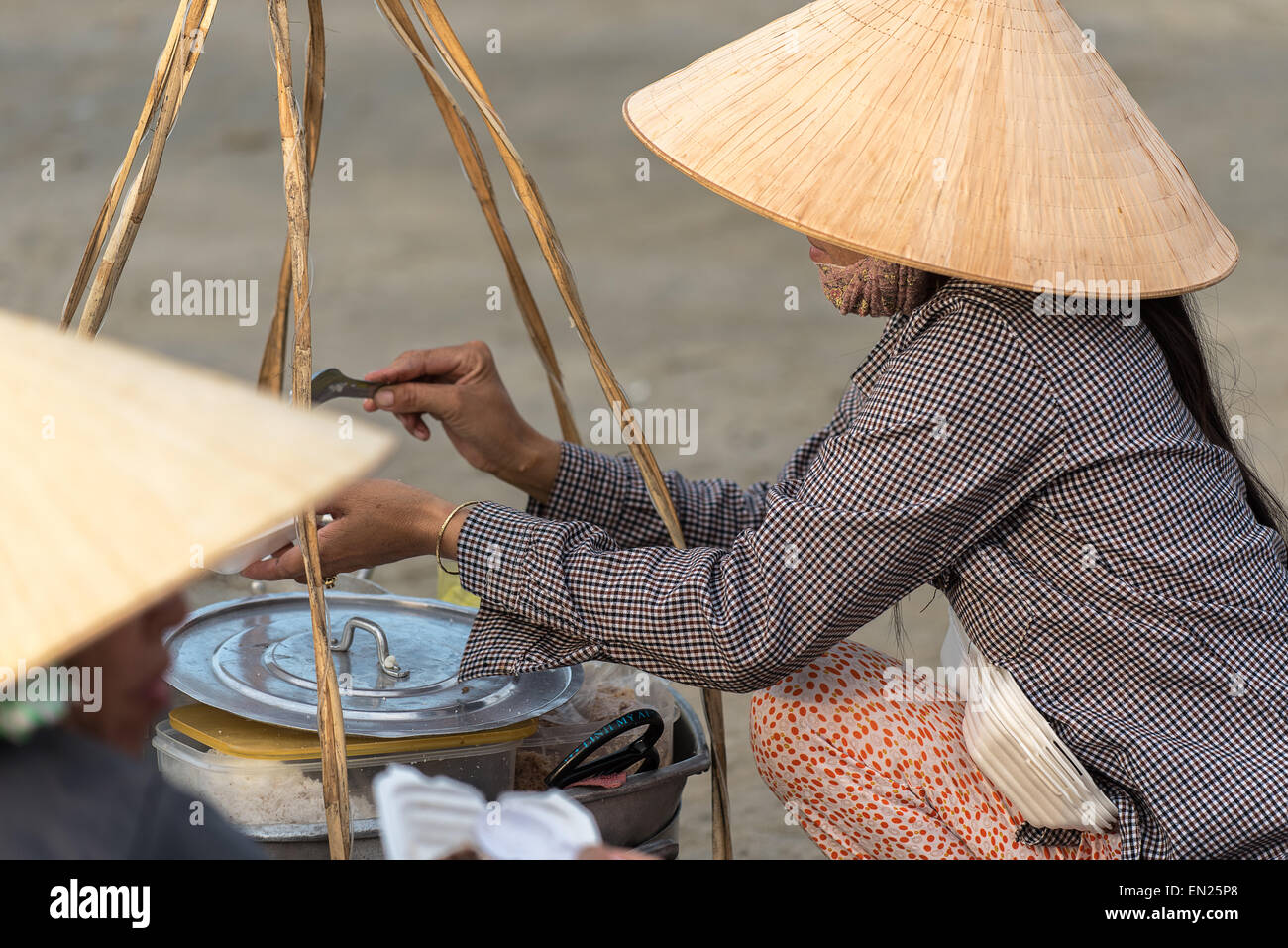 A Food Vendor On The Beach At Mui Ne Fishing Village. - Stock Image