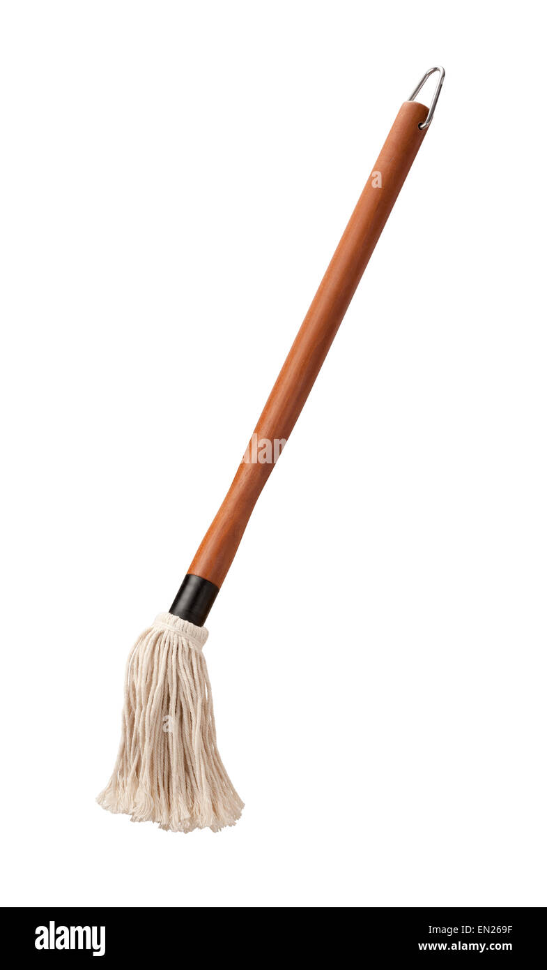 Barbecue Sauce Basting Mop with a Wooden Handle - Stock Image