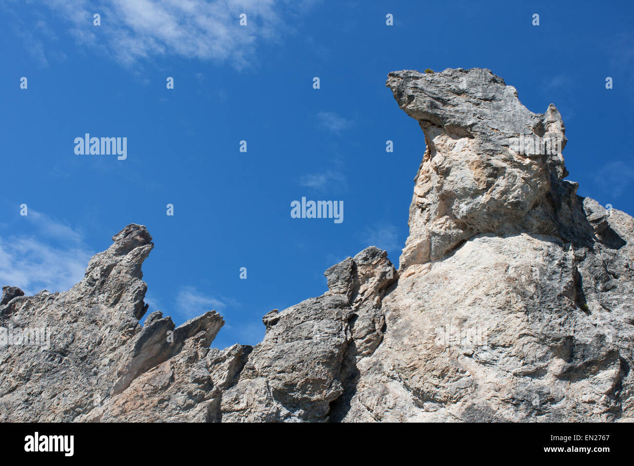 rock formation Ofenpass Switzerland Engadin Alps mountains against blue sky - Stock Image