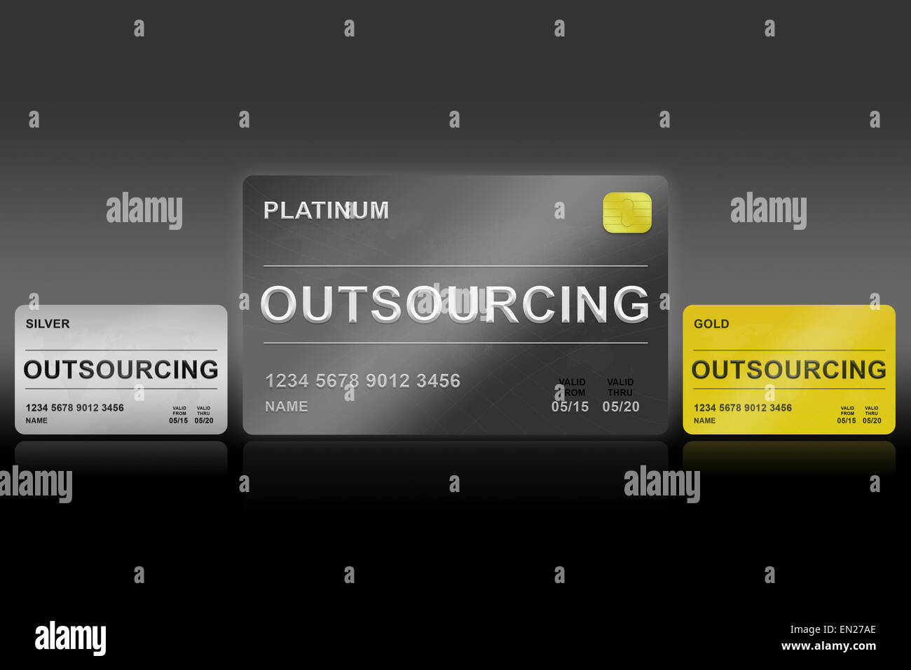 outsourcing platinum card on black background - Stock Image