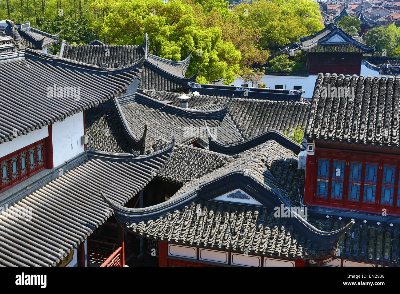 Black tiles roofs of traditional buildings in the Old City, Shanghai, China - Stock Image