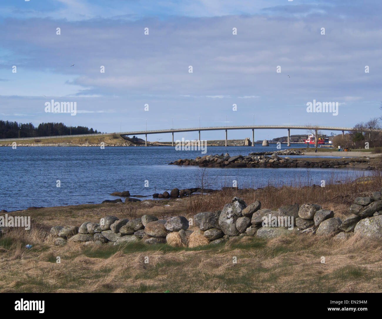 The Hafrsfjord bridge in Stavanger Norway, a historical site where Norway became one country in AD 872 - Stock Image