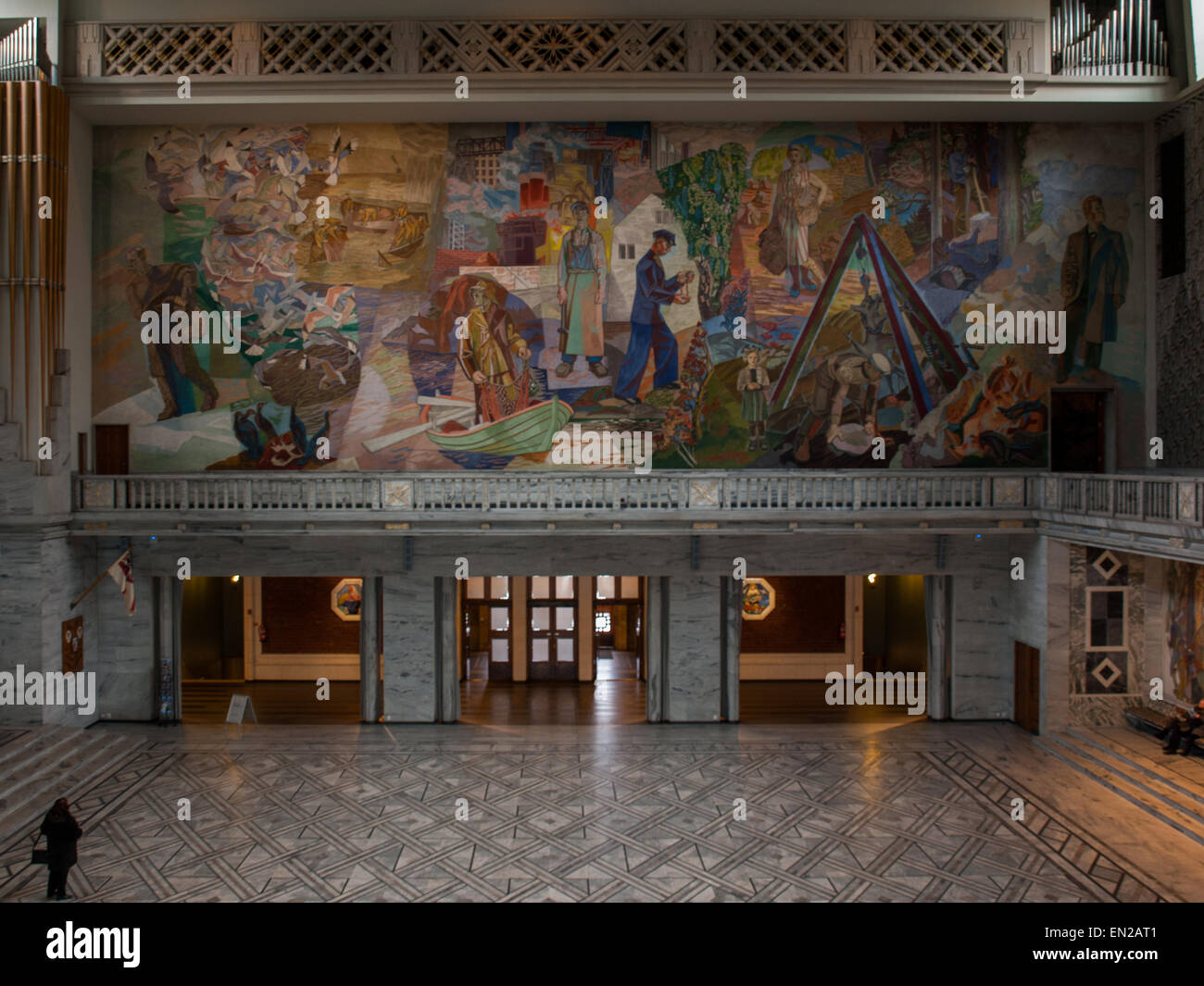 General view of the Central Hall of Oslo City Hall with wall fresco by Alf Rolfsen Stock Photo