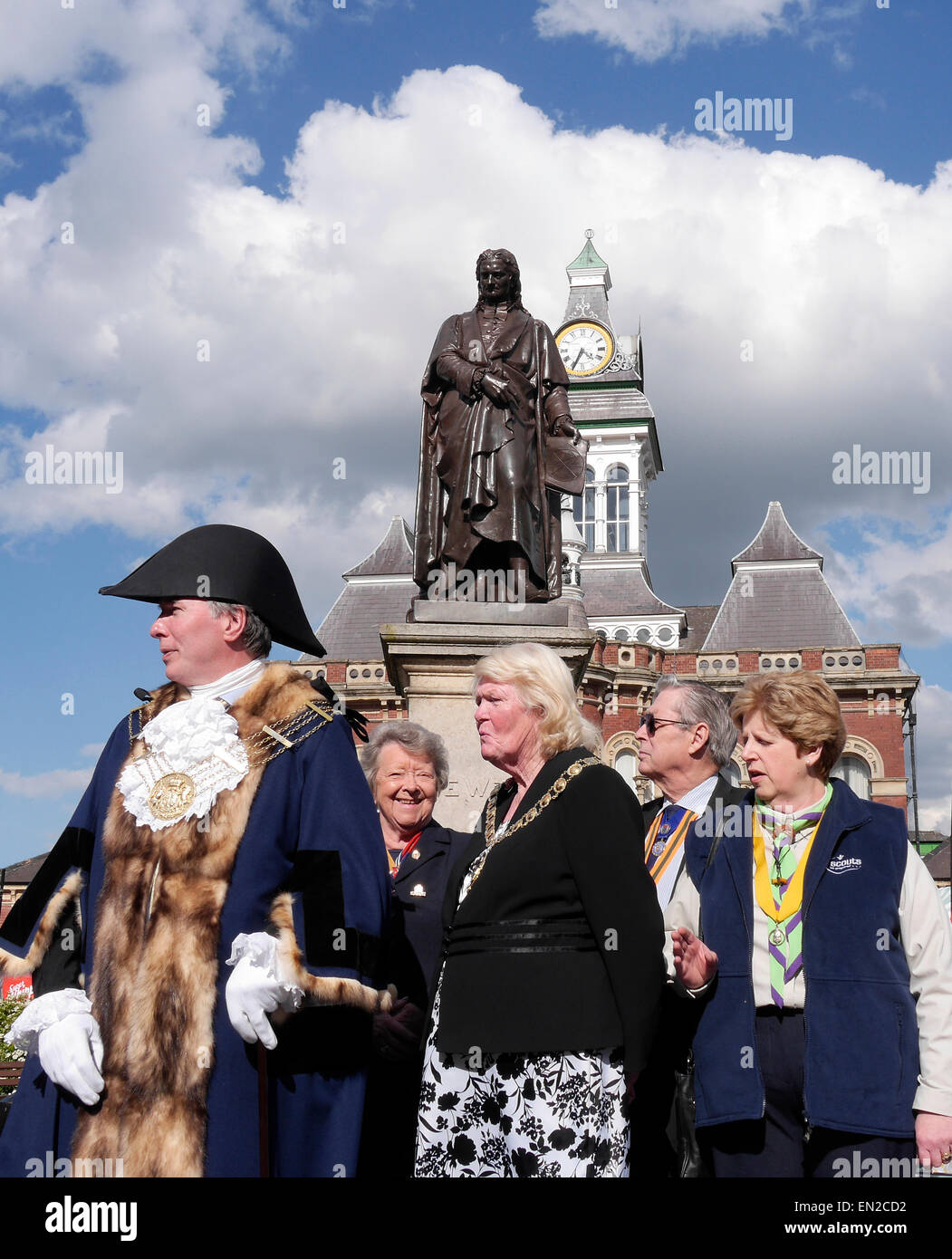 The Mayor of Grantham and dignitaries observing the march past on St. George's Day parade, Grantham, Lincolnshire, - Stock Image
