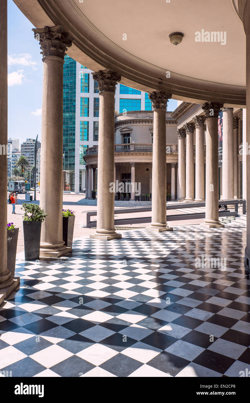 Famous Colonnade in Neoclassicism architecture of Theatre Solis in Montevideo, Uruguay - Stock Image
