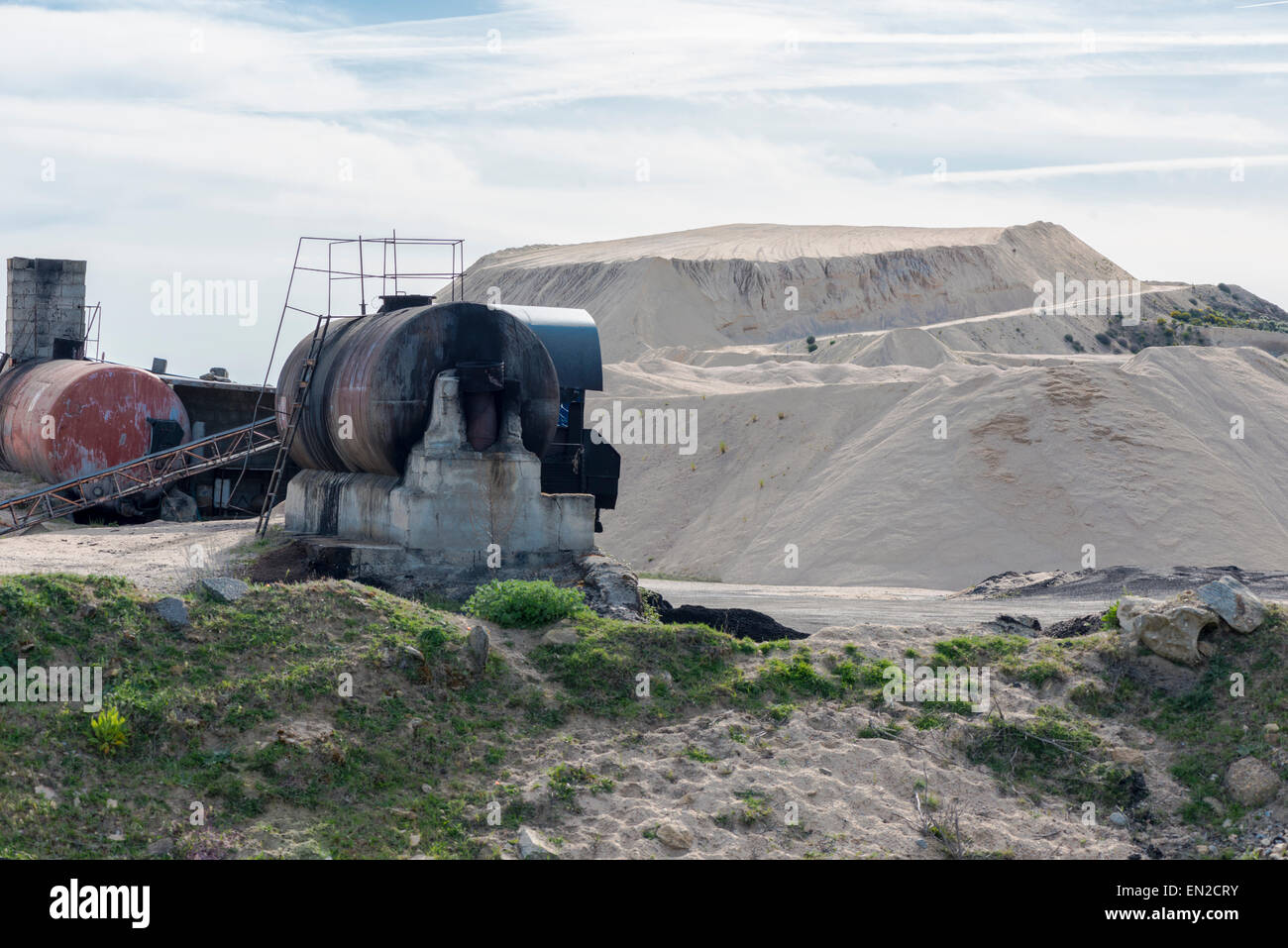 Tank and Gravel pit  view. Mining area. - Stock Image