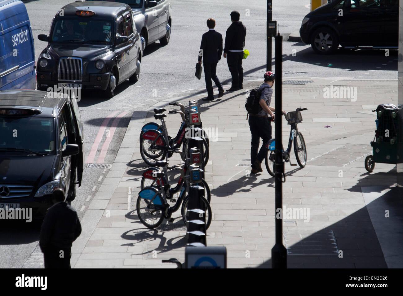 London cycle hire bikes Boris rental bikes - Stock Image