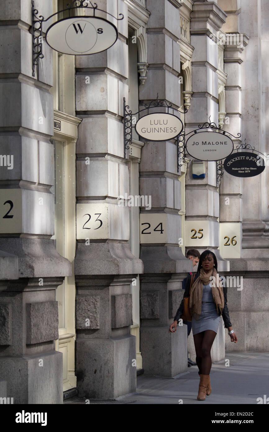 Luxury shopping Royal exchange, Threadneedle street London - Stock Image