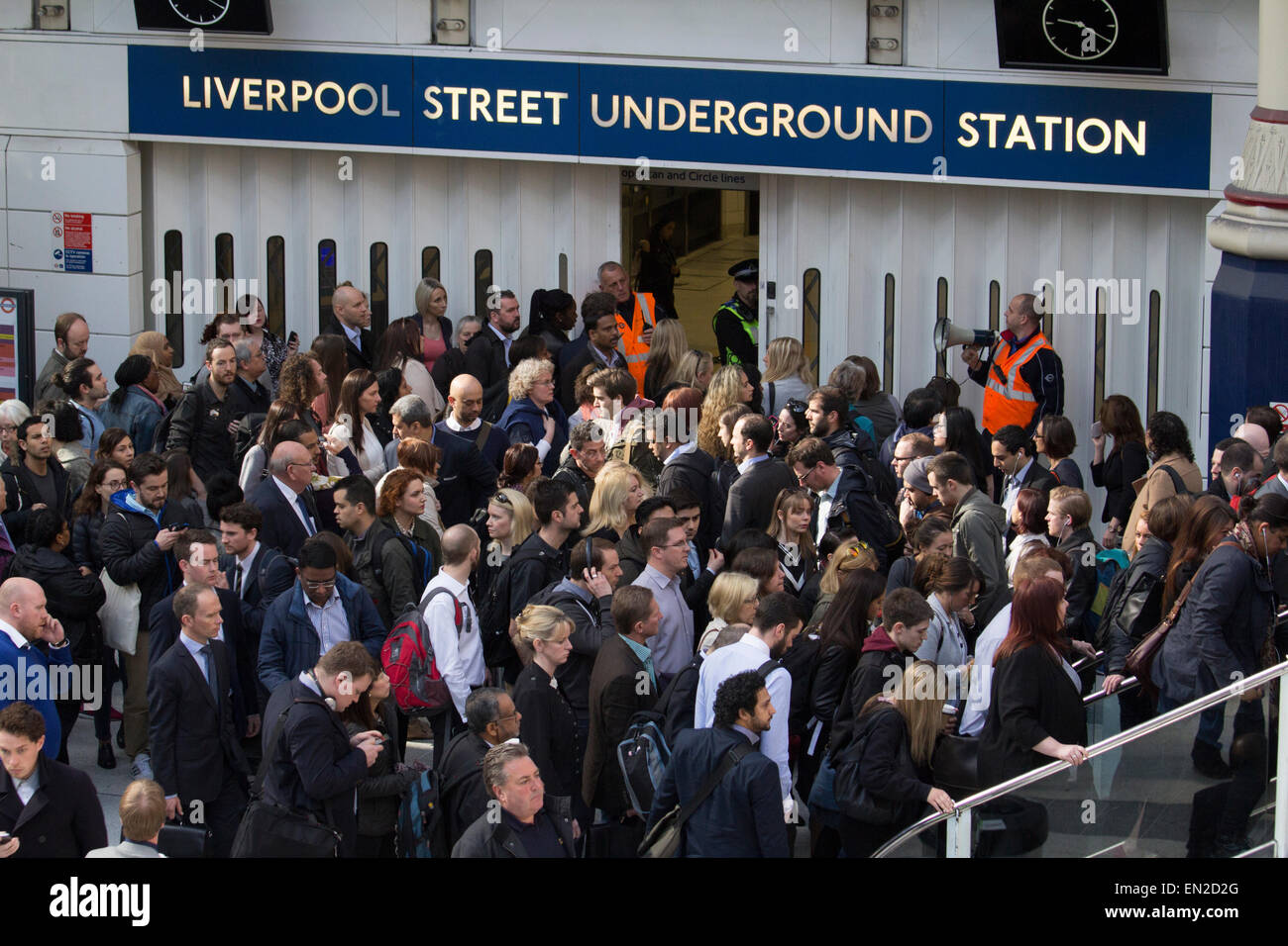 crowd control on London Underground, after Liverpool street tube station is closed during rush hour causing delays - Stock Image