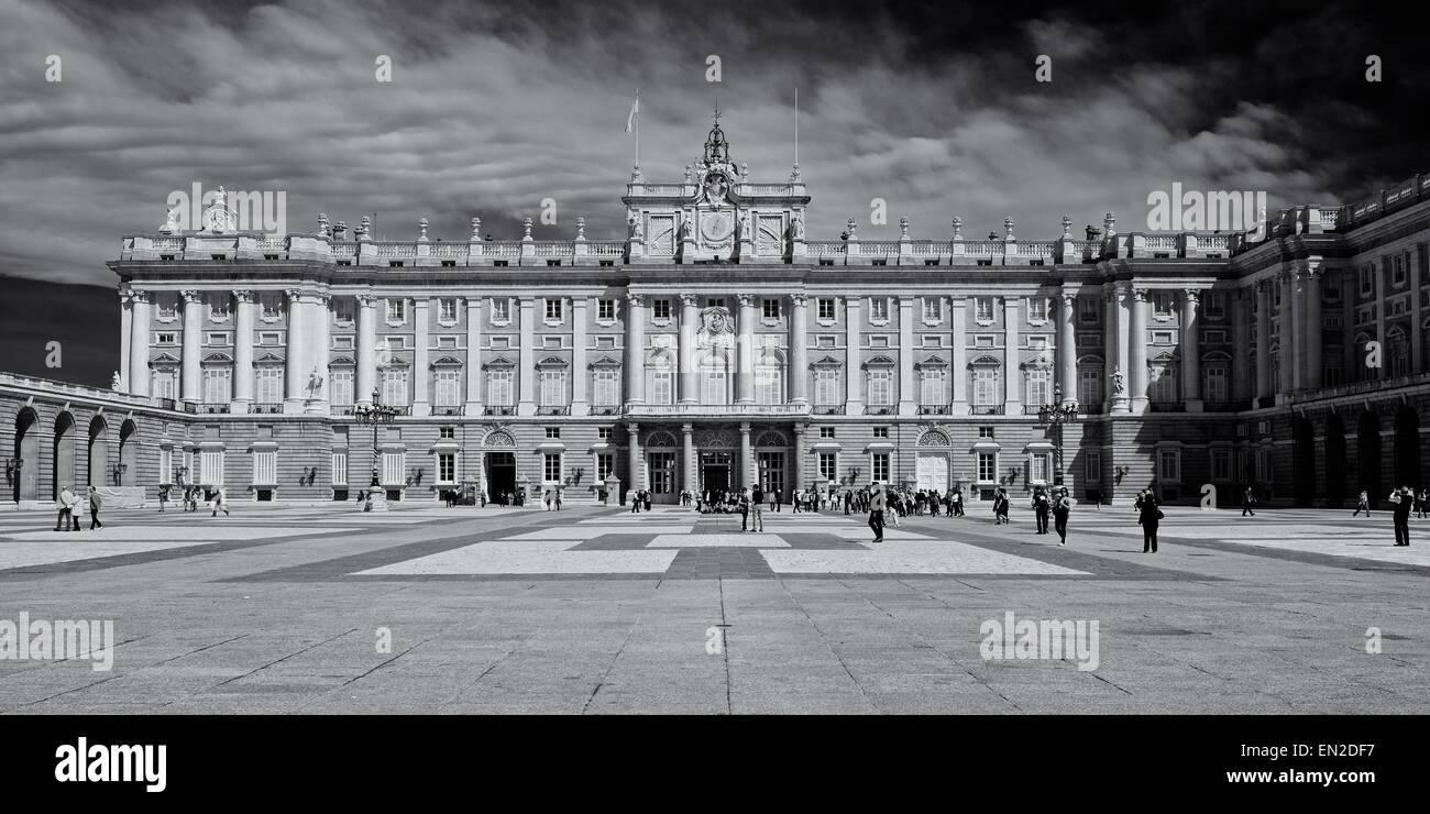 A Black and white image of the Royal Palace in Madrid taken during the spring - Stock Image