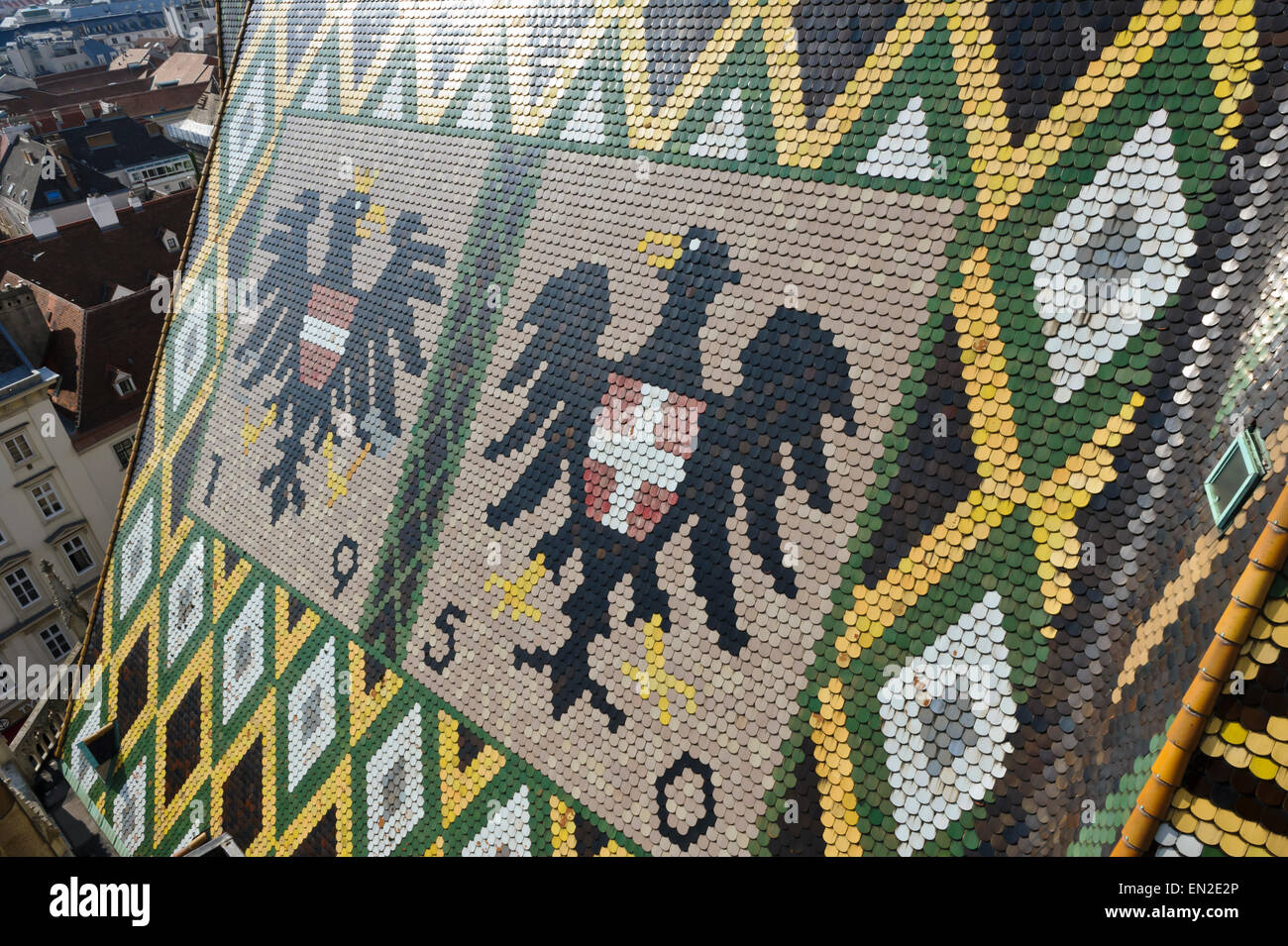 The Colorful Pattern Mosaic Tiles And Eagle Symbols On The Rooftop