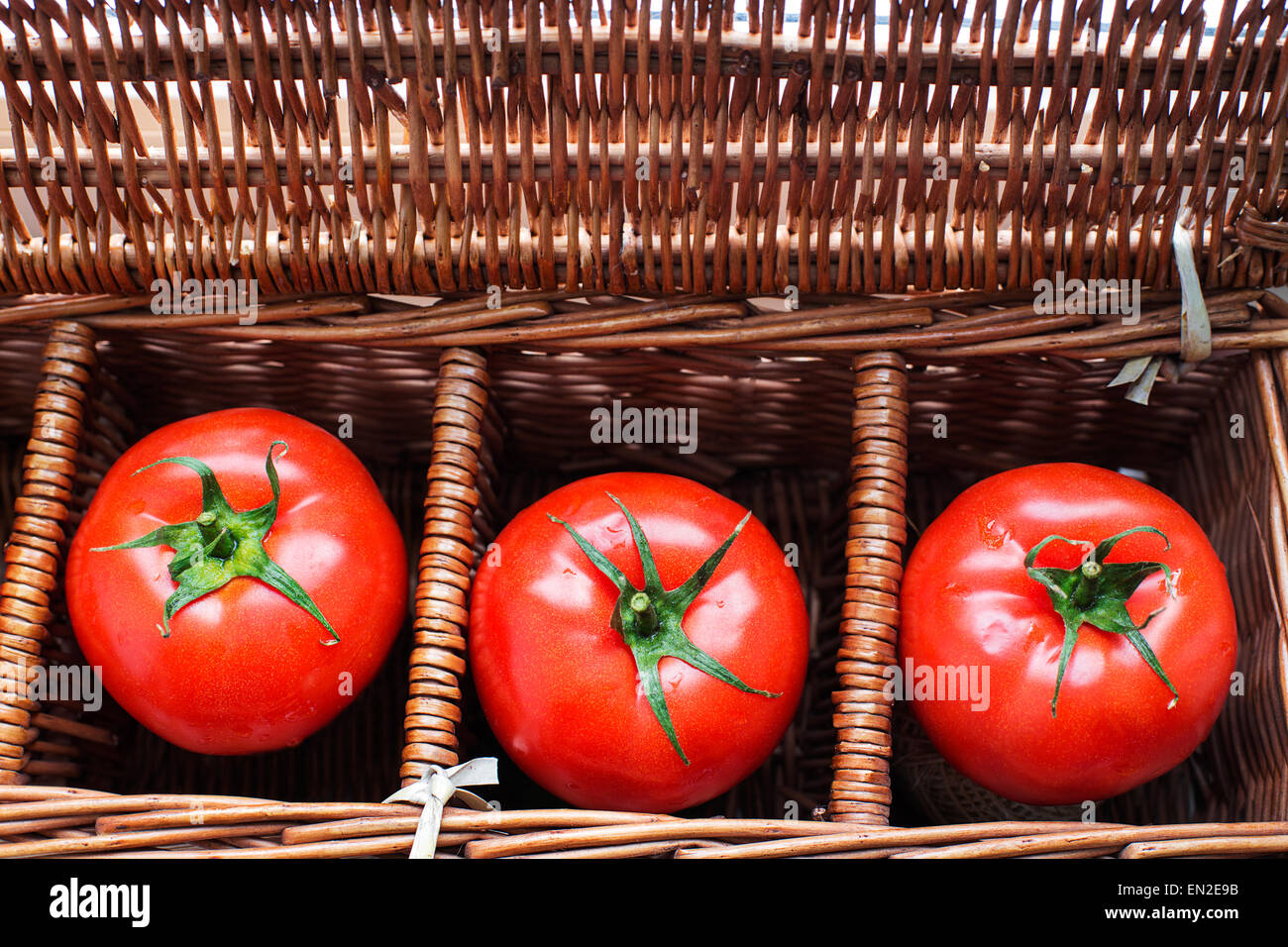 Three tomatoes with dew lying separately in wicker retro box - Stock Image