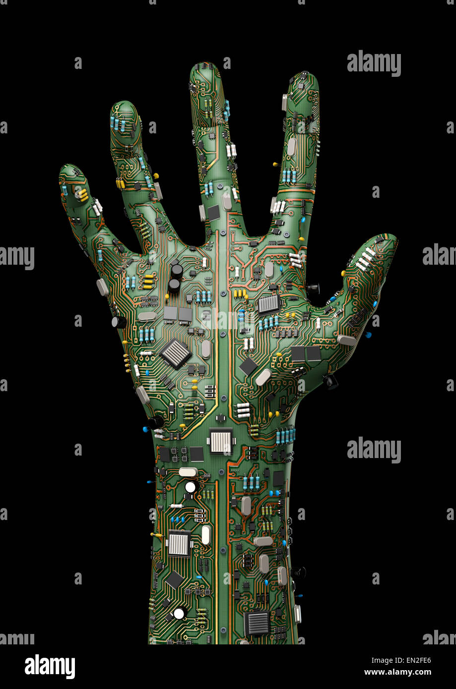3D render of raised hand made of computer circuit board Stock Photo