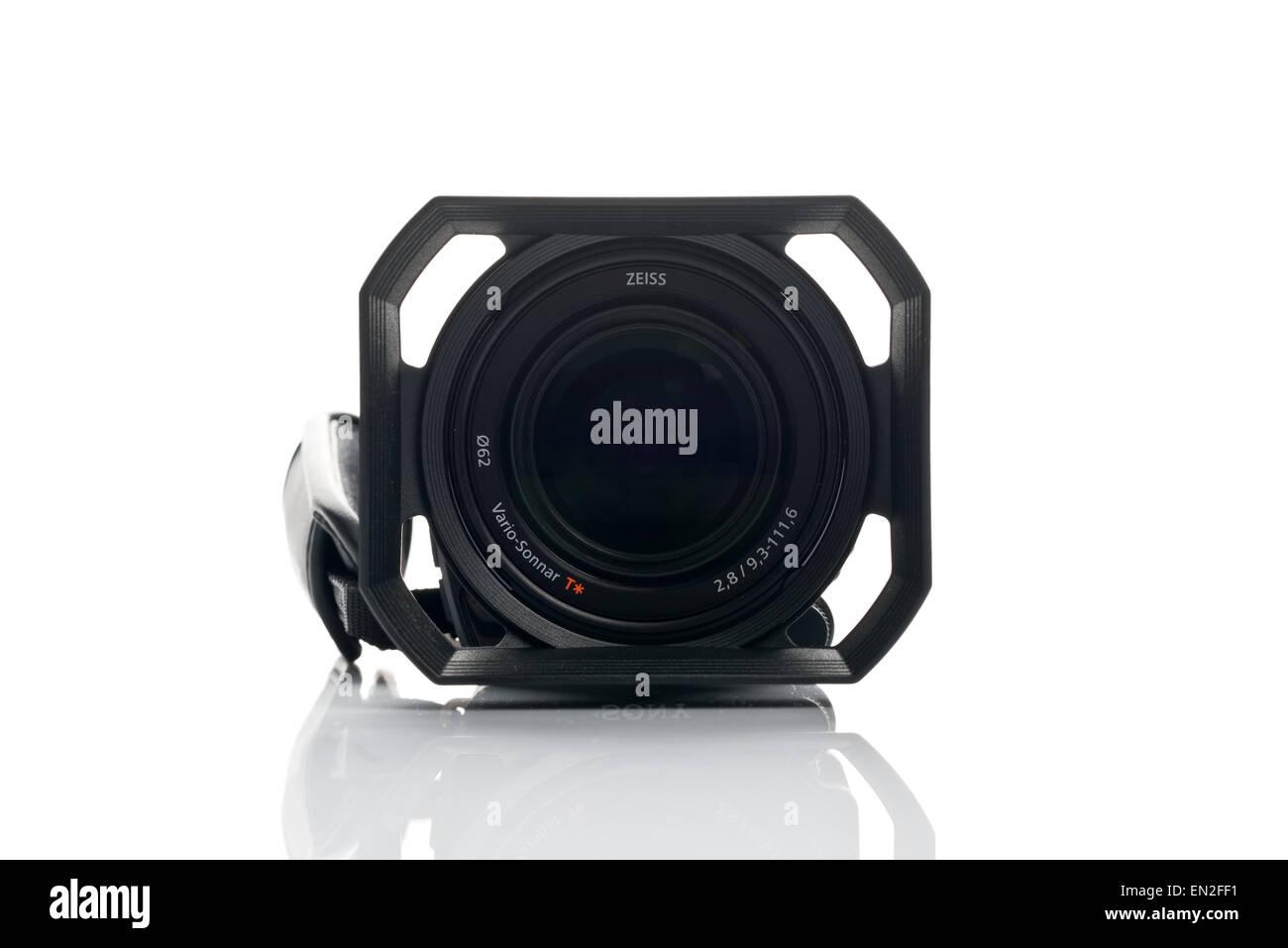 NOVI SAD, SERBIA - APRIL 25, 2015: Sony FDR AX100 4k Handycam Camcorder (announced in 2014.) captures Ultra High - Stock Image