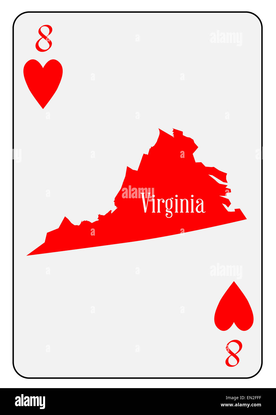 Outline Map Of Virginia.Outline Map Of Virginia And Used As The 8 Of Hearts Motif In A Stock