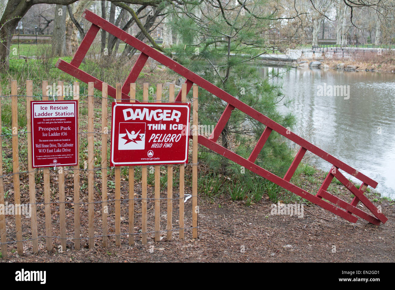 Ice rescue station ladder and Danger Thin Ice sign,  in Prospect Park Brooklyn, NYC, USA - Stock Image