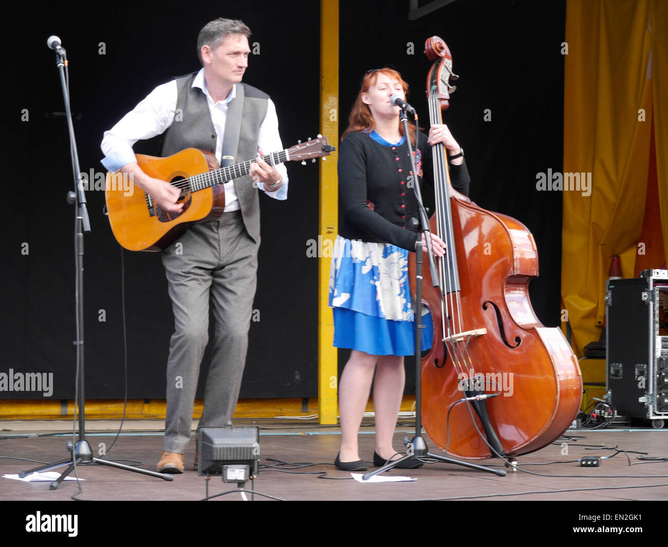 Singers of country music performing on St. George's Day in Grantham, Lincolnshire, England, UK - Stock Image