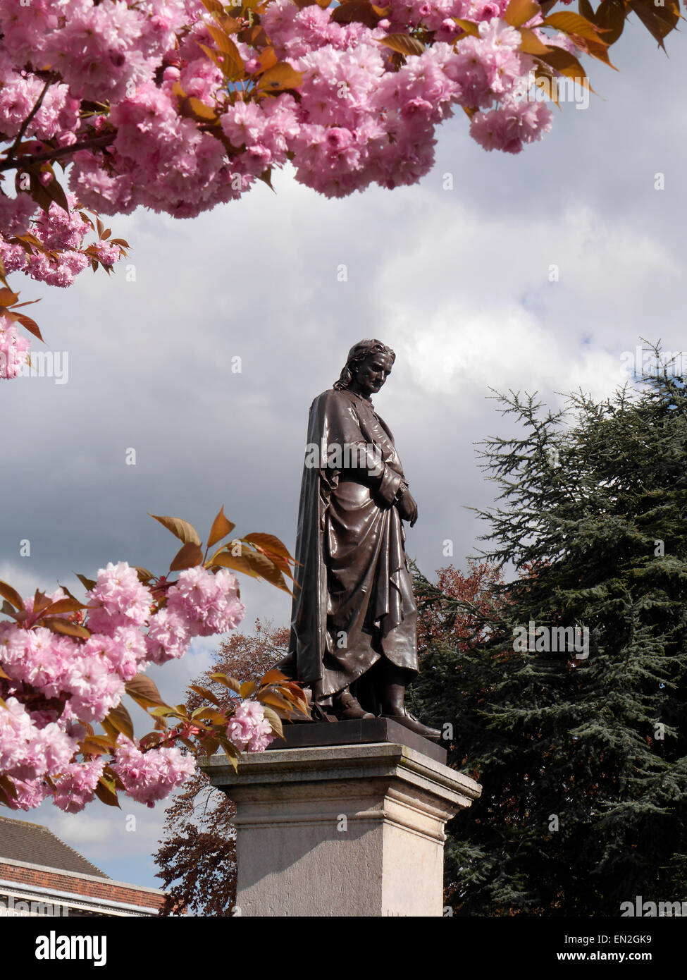Statue of Sir Isaac Newton, Grantham, Lincolnshire, England, UK - Stock Image