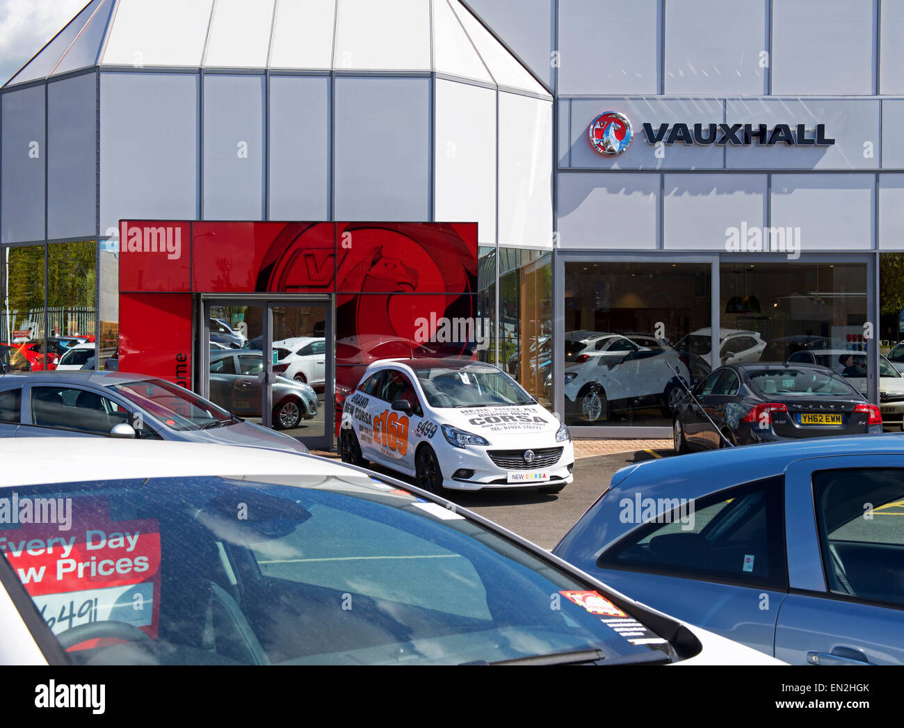 Vauxhall car dealership in Wakefield, West Yorkshire, England UK - Stock Image