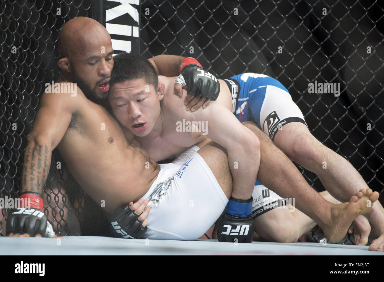 Montreal, Quebec, Canada. 25th Apr, 2015. DEMETRIOUS ''Mighty Mouse'' JOHNSON and KYOJI HORIGUCHI - Stock Image