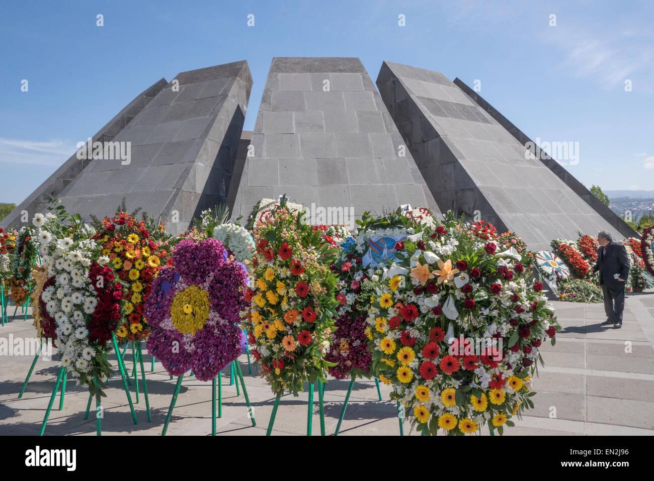 Yerevan, Armenia. 25th Apr, 2015. Armenian Genocide Museum during 100th Anniversary Commemoration Credit:  Dennis - Stock Image